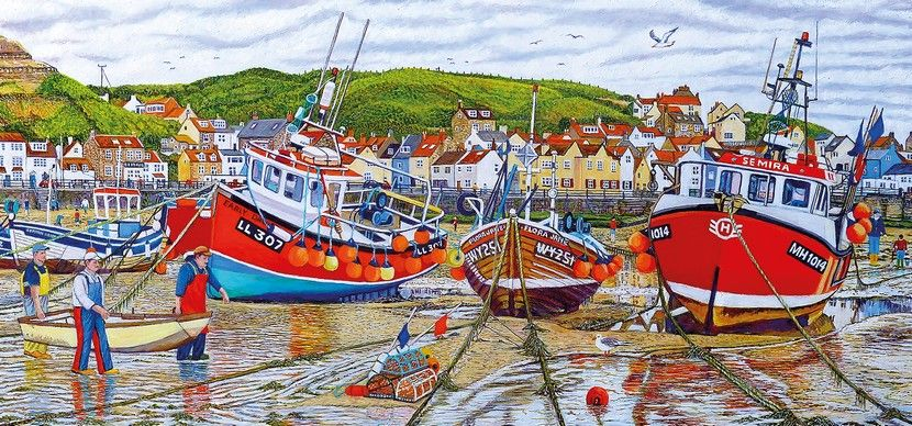 Seagulls at Staithes - 636 Pieces |Yorkshire Jigsaw Store